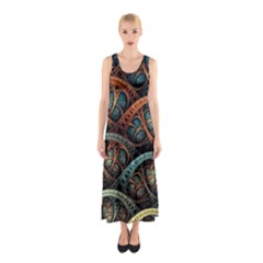 Fractal Art Pattern Flower Art Background Clored Sleeveless Maxi Dress