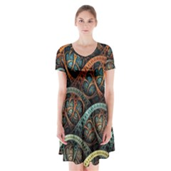 Fractal Art Pattern Flower Art Background Clored Short Sleeve V-neck Flare Dress