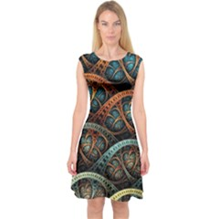 Fractal Art Pattern Flower Art Background Clored Capsleeve Midi Dress