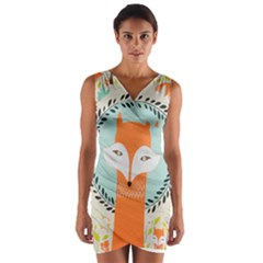 Foxy Fox Art Print Traditional Wrap Front Bodycon Dress