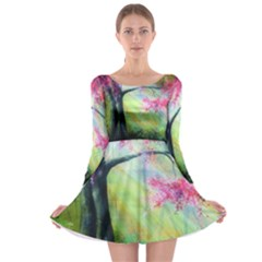 Forests Stunning Glimmer Paintings Sunlight Blooms Plants Love Seasons Traditional Art Flowers Sunsh Long Sleeve Skater Dress