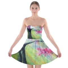 Forests Stunning Glimmer Paintings Sunlight Blooms Plants Love Seasons Traditional Art Flowers Sunsh Strapless Bra Top Dress