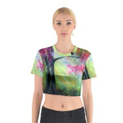 Forests Stunning Glimmer Paintings Sunlight Blooms Plants Love Seasons Traditional Art Flowers Sunsh Cotton Crop Top