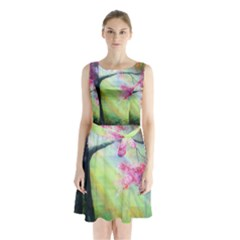 Forests Stunning Glimmer Paintings Sunlight Blooms Plants Love Seasons Traditional Art Flowers Sunsh Sleeveless Chiffon Waist Tie Dress
