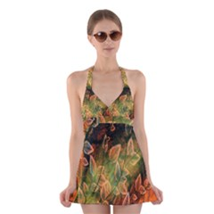 Foliage Design Abstraction Halter Swimsuit Dress