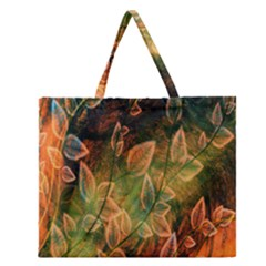 Foliage Design Abstraction Zipper Large Tote Bag