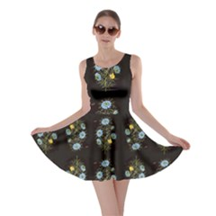 Blue Flowers on Black Skater Dress