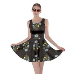Blue Flowers On Black Skater Dress