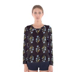 Blue Flowers on Black Women s Long Sleeve Tee
