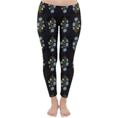 Blue Flowers on Black Winter Leggings