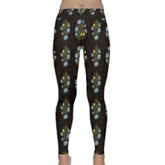 Blue Flowers on Black Yoga Leggings