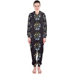 Blue Flowers On Black Hooded Jumpsuit (ladies)