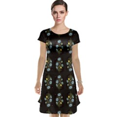 Blue Flowers On Black Cap Sleeve Nightdress