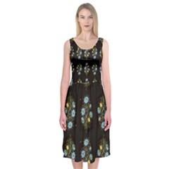 Blue Flowers on Black Midi Sleeveless Dress