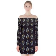 Blue Flowers on Black Long Sleeve Off Shoulder Dress