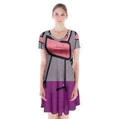 Sponge girl Short Sleeve V-neck Flare Dress