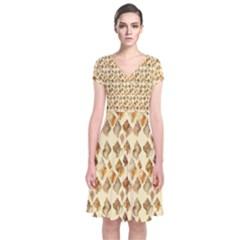 Shell We Dance? Short Sleeve Front Wrap Dress