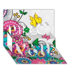 Flowers Pattern Vector Art Miss You 3D Greeting Card (7x5)