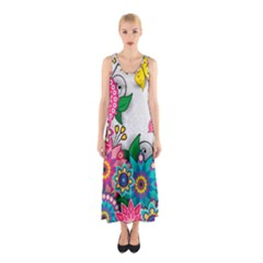 Flowers Pattern Vector Art Sleeveless Maxi Dress