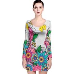 Flowers Pattern Vector Art Long Sleeve Velvet Bodycon Dress