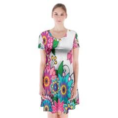 Flowers Pattern Vector Art Short Sleeve V-neck Flare Dress