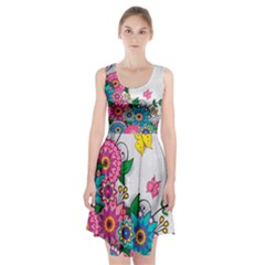 Flowers Pattern Vector Art Racerback Midi Dress