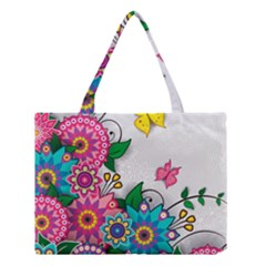 Flowers Pattern Vector Art Medium Tote Bag