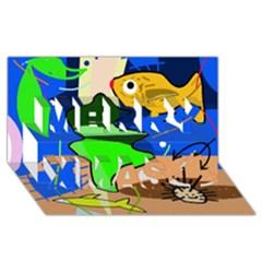 Aquarium  Merry Xmas 3D Greeting Card (8x4)
