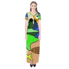 Aquarium  Short Sleeve Maxi Dress