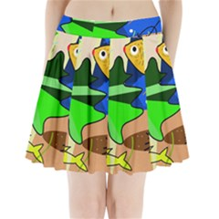 Aquarium  Pleated Mini Skirt