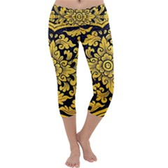 Flower Pattern In Traditional Thai Style Art Painting On Window Of The Temple Capri Yoga Leggings