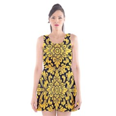 Flower Pattern In Traditional Thai Style Art Painting On Window Of The Temple Scoop Neck Skater Dress