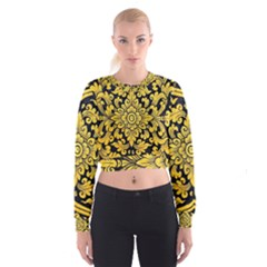 Flower Pattern In Traditional Thai Style Art Painting On Window Of The Temple Women s Cropped Sweatshirt