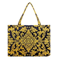 Flower Pattern In Traditional Thai Style Art Painting On Window Of The Temple Medium Tote Bag
