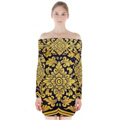 Flower Pattern In Traditional Thai Style Art Painting On Window Of The Temple Long Sleeve Off Shoulder Dress