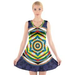 Flower Of Life Universal Mandala V-Neck Sleeveless Skater Dress