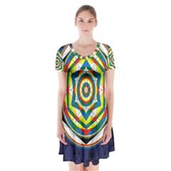 Flower Of Life Universal Mandala Short Sleeve V-neck Flare Dress
