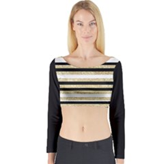 Gold Glitter and Black Stripes Long Sleeve Crop Top (Tight Fit)