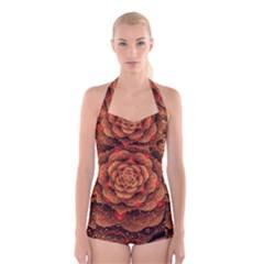 Flower Fractal Boyleg Halter Swimsuit