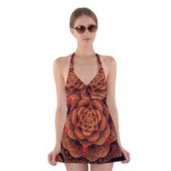 Flower Fractal Halter Swimsuit Dress