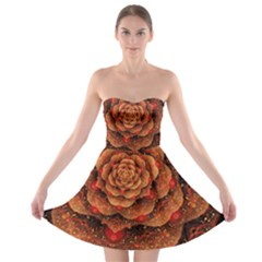 Flower Fractal Strapless Bra Top Dress