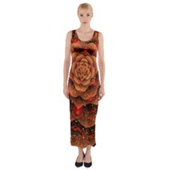 Flower Fractal Fitted Maxi Dress