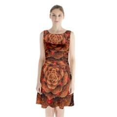 Flower Fractal Sleeveless Chiffon Waist Tie Dress