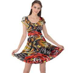 Flower Art Traditional Cap Sleeve Dresses