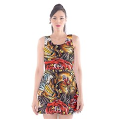 Flower Art Traditional Scoop Neck Skater Dress