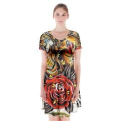 Flower Art Traditional Short Sleeve V-neck Flare Dress
