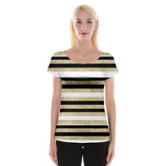 Gold Glitter And Black Stripes Women s Cap Sleeve Top