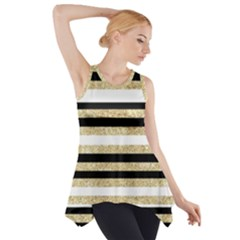 Gold Glitter And Black Stripes Side Drop Tank Tunic
