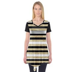 Gold Glitter And Black Stripes Short Sleeve Tunic