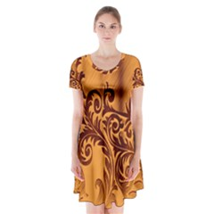 Floral Vintage 2 Short Sleeve V-neck Flare Dress